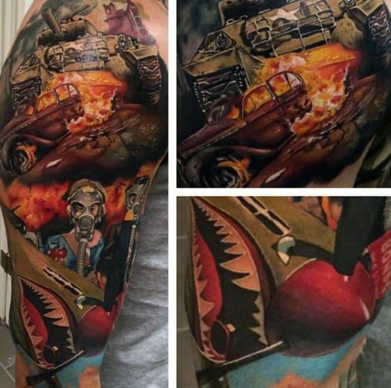 Male Forearms Interesting Shipwreack Tattoo