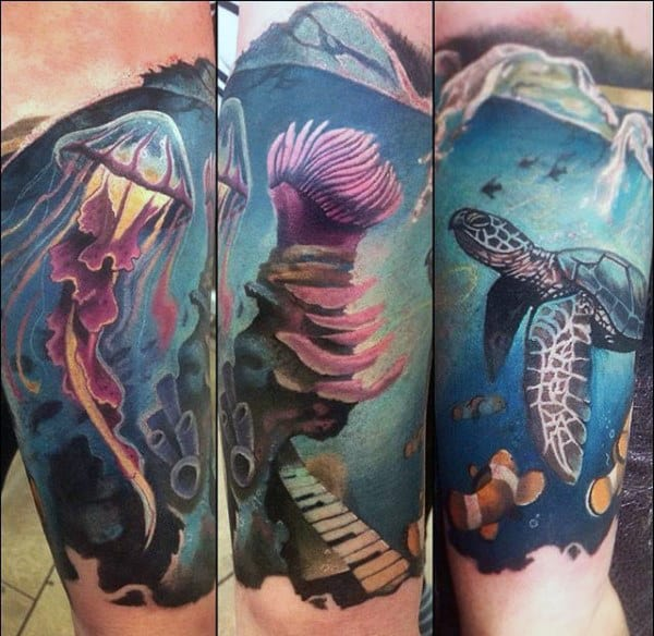 Male Forearms Jellywish And Underwater Life Tattoo
