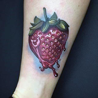 Male Forearms Juicy Strawberry Tattoo