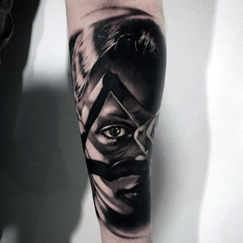 Male Forearms Lady With Sharp Eye Tattoo