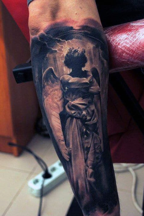 Male Forearms Long Robed Guardian Angel Tattoo