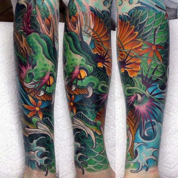 Male Forearms Lovely Dragon Tattoo
