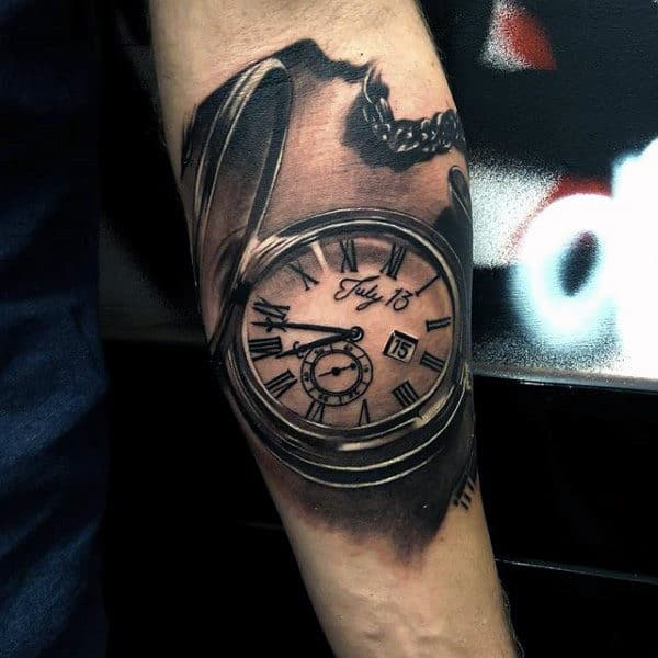 Male Forearms Manly Clock Tattoo The July 13th