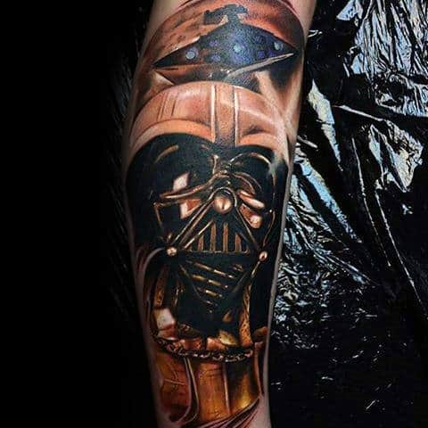 Male Forearms Metallic Star Wars Tattoo