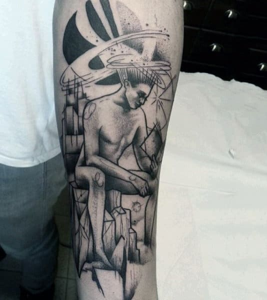 Male Forearms Naked Man Reading A Book Tattoo