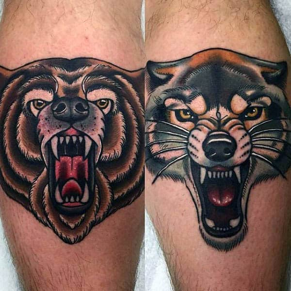 Male Forearms Neo Traditional Beast Tattoo