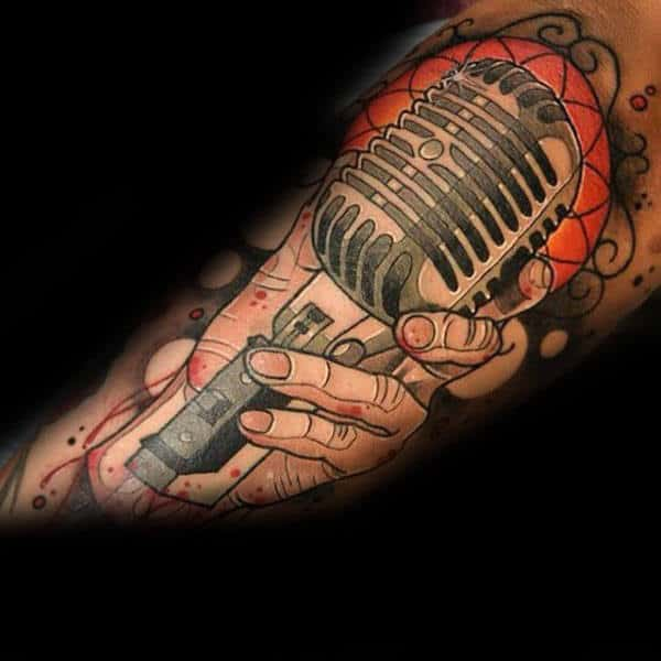 Male Forearms Orange Shaded Microphone Tattoo