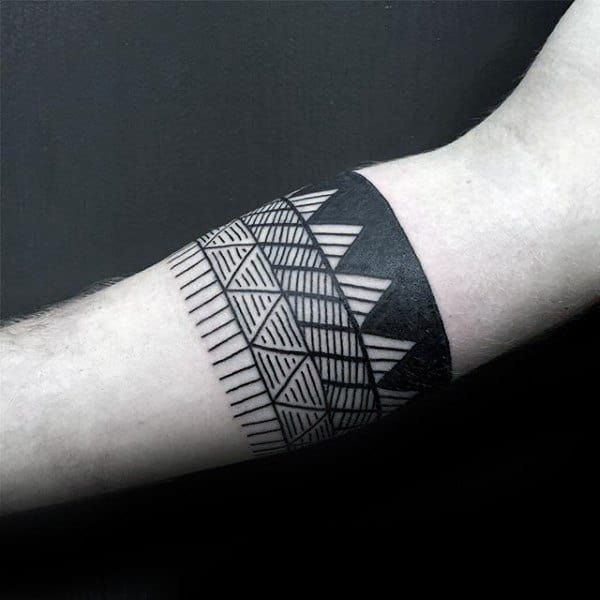 Male Forearms Patterned Band Tattoo