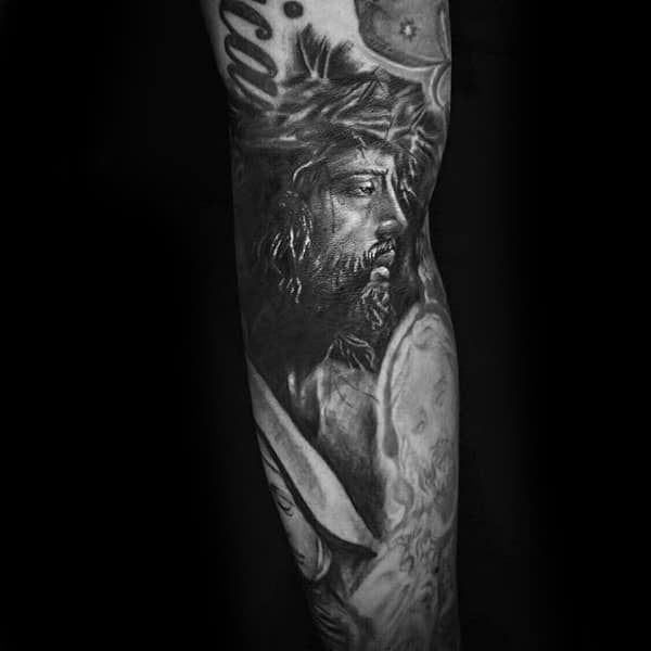 Male Forearms Prince Of Peace Religious Tattoo
