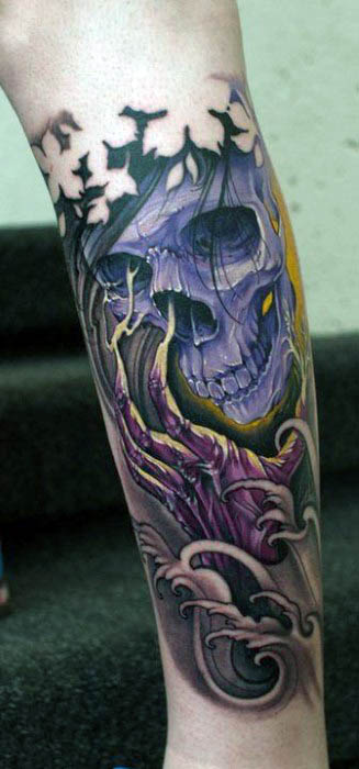 Male Forearms Purple Skull And Bony Hands Neo Traditional Tattoo