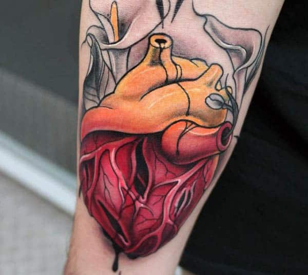 Male Forearms Realistic Anatomical Heart Tattoo