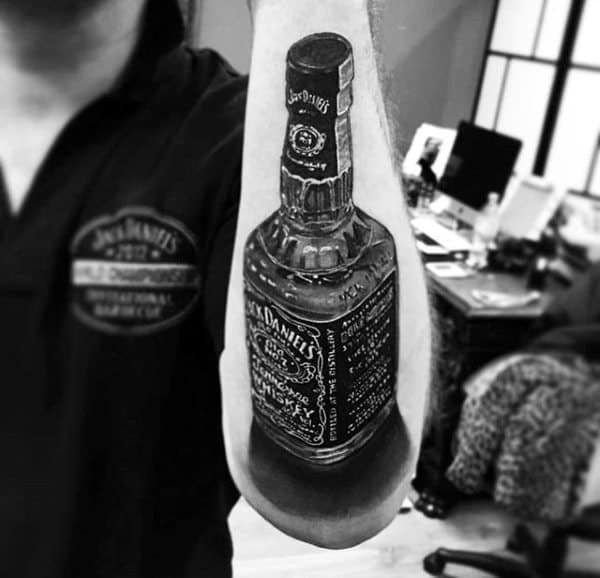 Male Forearms Realistic Black And White Jack Daniels Tattoo