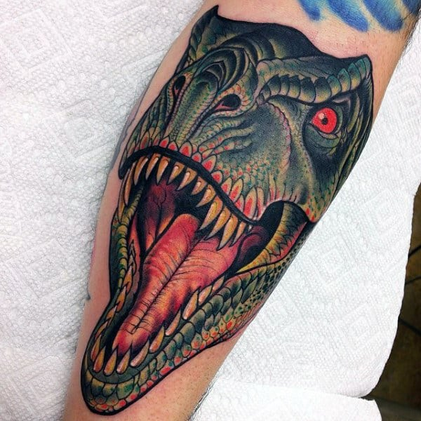 Male Forearms Realistic Green Dinosaur Tattoo