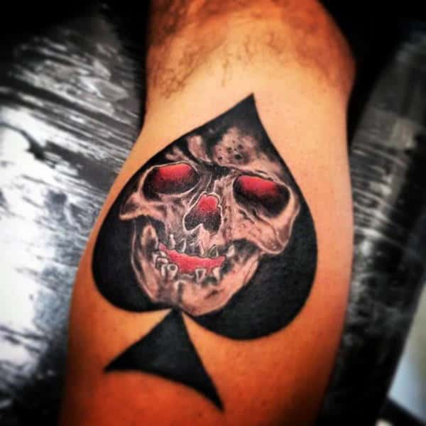 Male Forearms Red Eyed Skull And Spade Tattoo