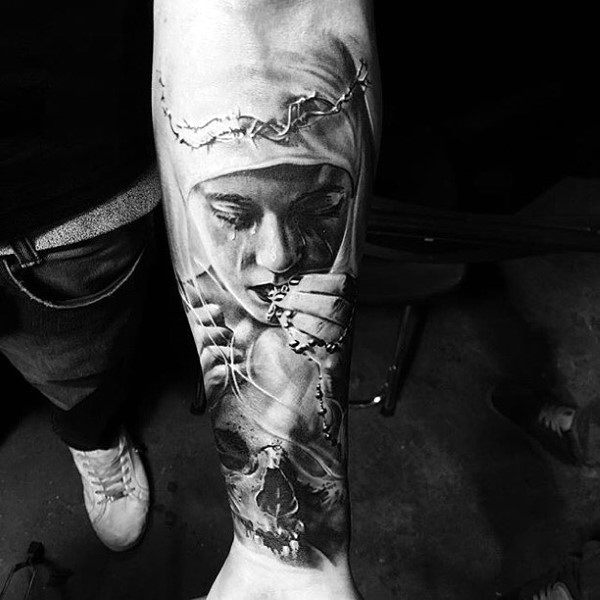 Male Forearms Religious Lady With Beads Tattoo