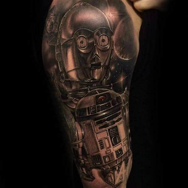 Male Forearms Shiny Metallic Star Wars Tattoo
