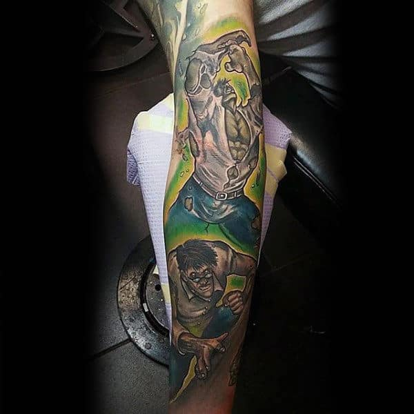 Male Forearms Smashing Hulk Tattoo