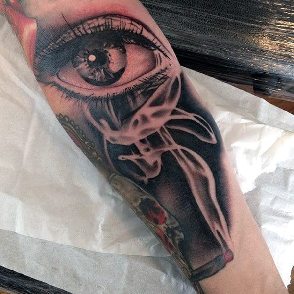 Male Forearms Smoking Eye Tattoo