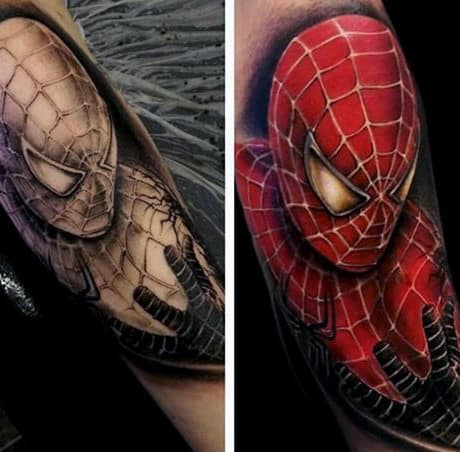Male Forearms Spiderman Tattoo