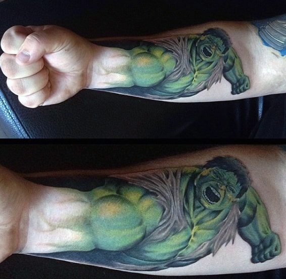 Male Forearms Strong Hulk Tattoo