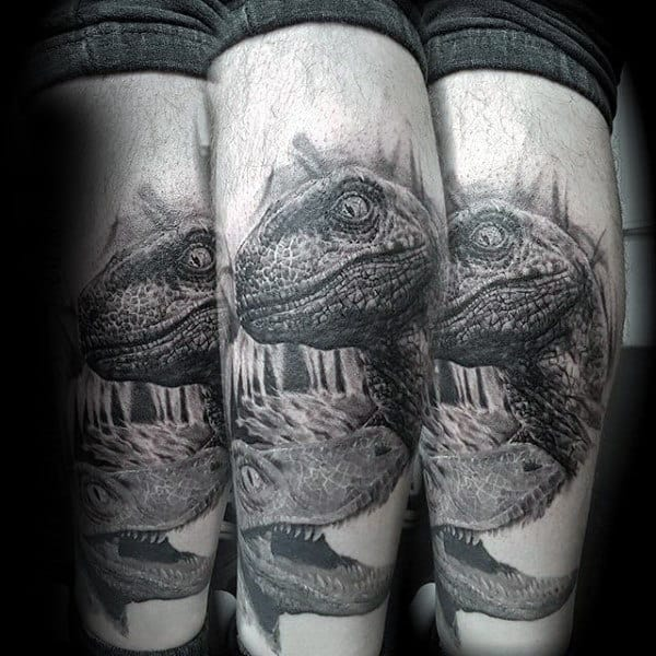 Male Forearms Stunning Grey Pair Of Dinosaurs Tattoo