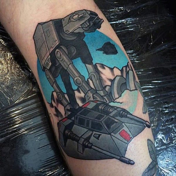 Male Forearms Tall Star Wars Tattoo