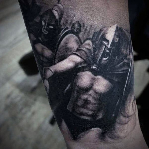 Male Forearms Warriors In Combat Tattoo