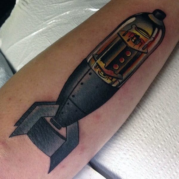 Male Forearms Well Detailed Bomb Tattoo