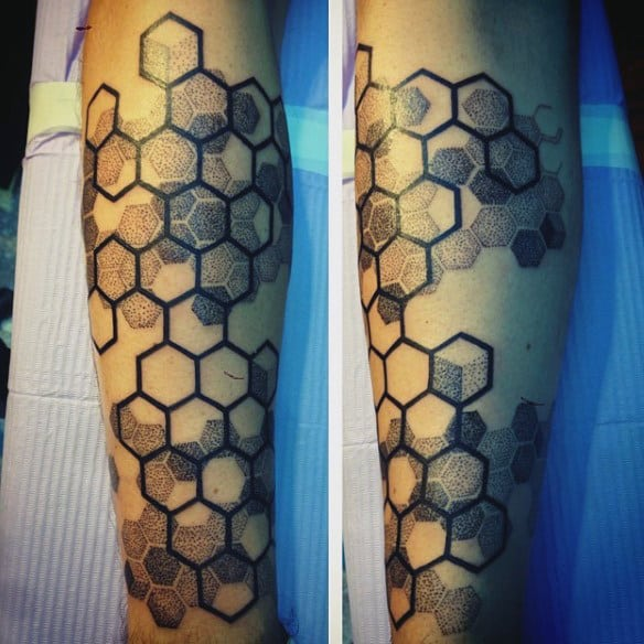 Male Forearms Wonderful Dark Honeycomb Tattoo