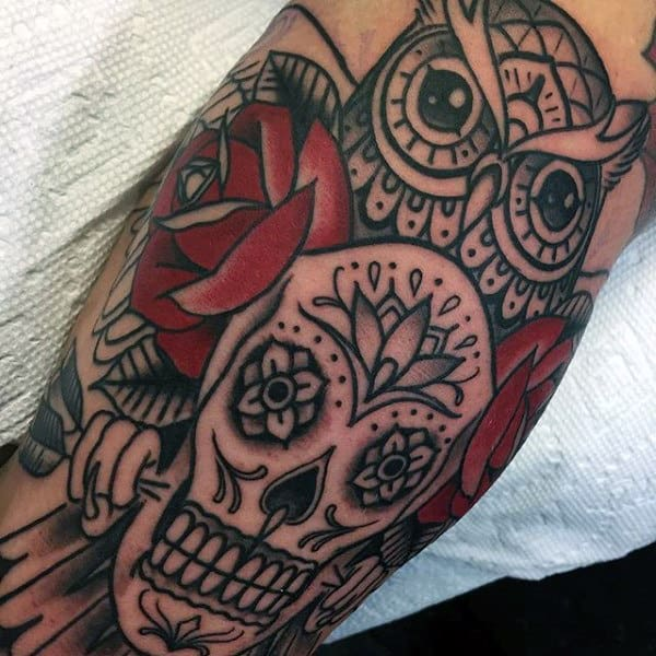 Male Forearms Wonderful Day Of The Dead Skull Tattoo