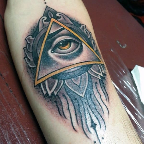 Male Forearms Yellow Eyed Illuminati Tattoo