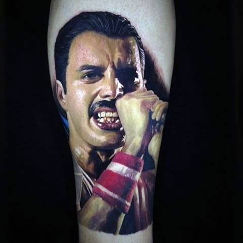 Male Freddie Mercury 3d Forearm Tattoo Design Inspiration