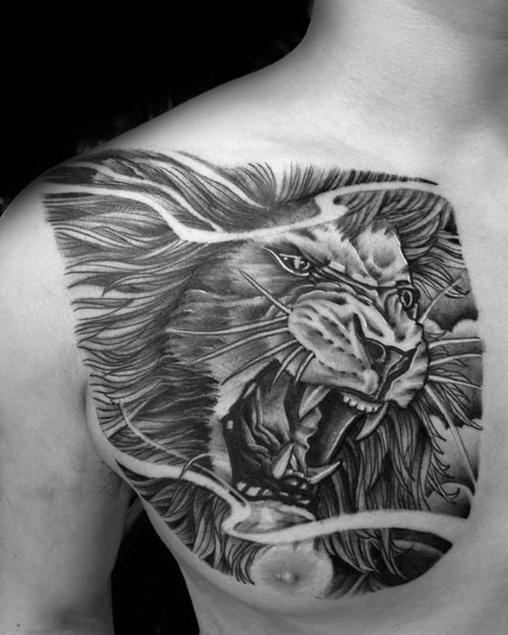 Male Front Of Shoulder Tattoo With Lion Design