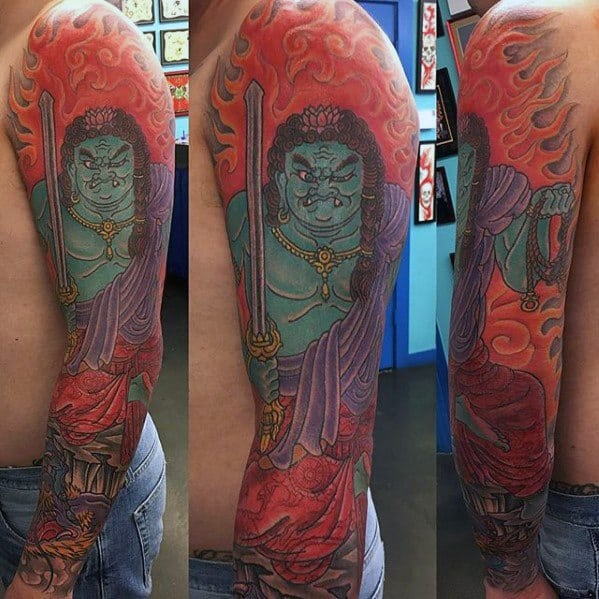 Male Fudo Myoo Full Arm Sleeve Tattoo Design Inspiration