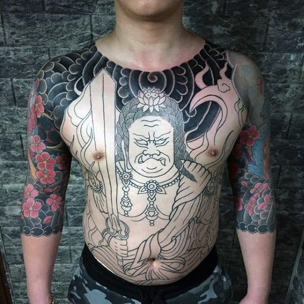 Male Fudo Myoo Japanese Tattoo Ideas On Chest