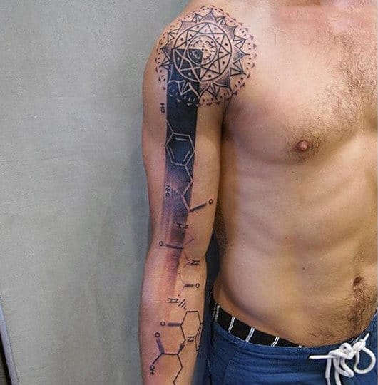 Male Full Arm Tattoo Of Geometric Chemistry Design