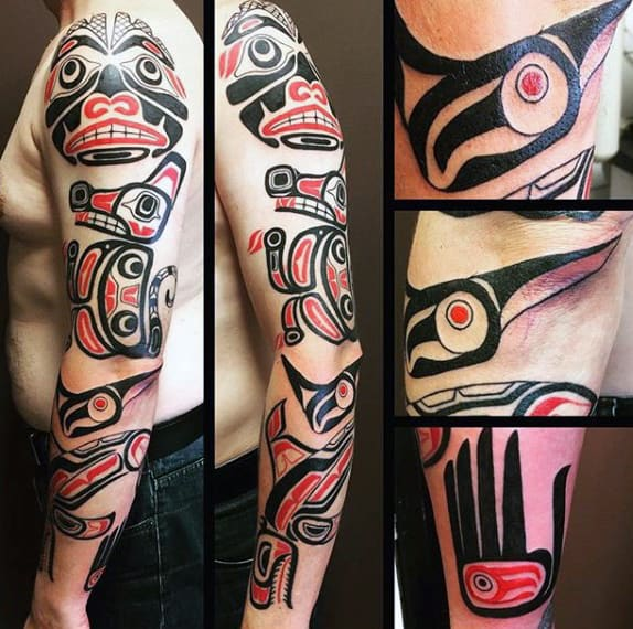 Male Full Arms Red Black Haida Tattoo