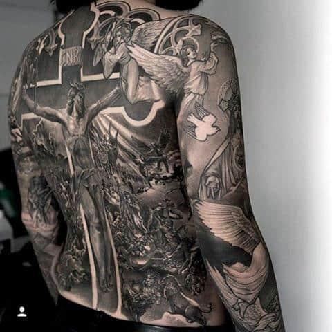 Male Full Back Jesus On Cross Tattoo