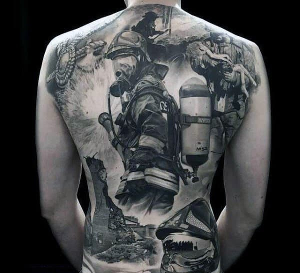 Male Full Back Black And Grey Realism Tattoo