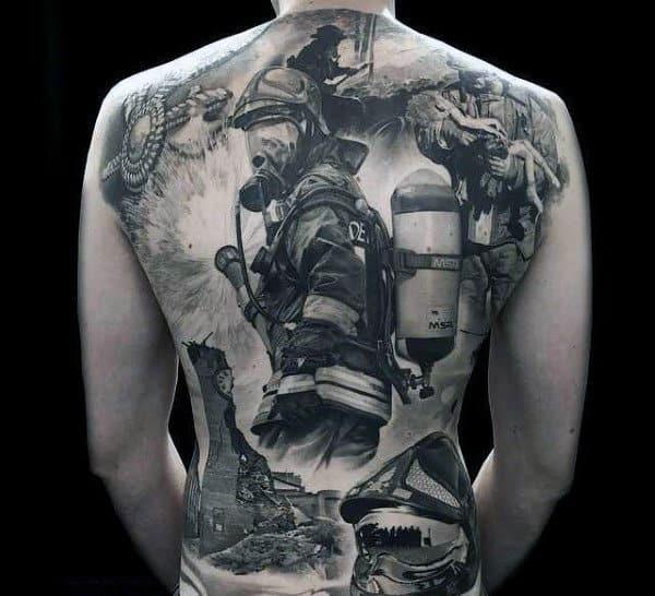 Male Full Back Black And Grey Realism Tattoo