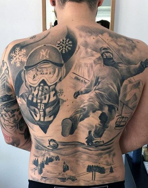 Male Full Back Fantastic Ride Or Die Snowboard Tattoo
