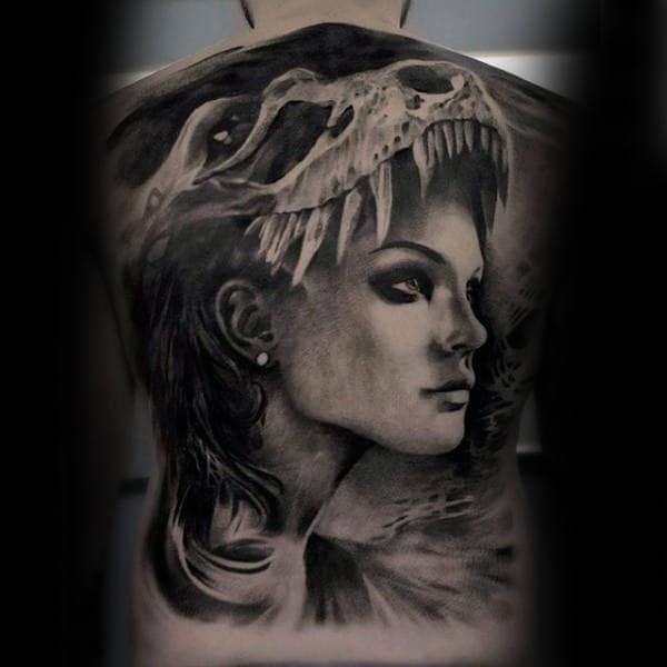 Male Full Back Lady Inside Dinosaurs Mouth Tattoo