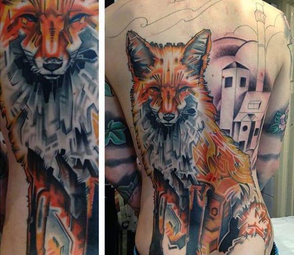 Male Full Back Majestic Fox Tattoo