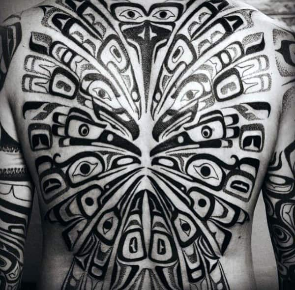 Male Full Back Mesmerising Haida Tattoo
