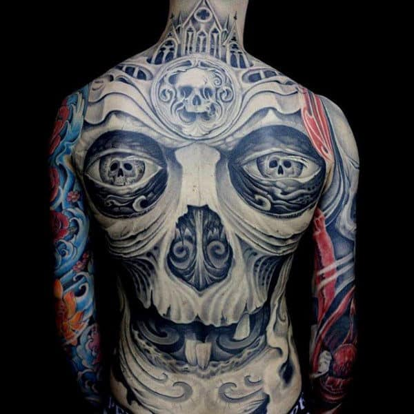 Male Full Back Peculiar Grey Skull Tattoo