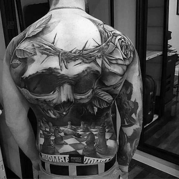Male Full Back Realistic Chess And Skull Eye Tattoo
