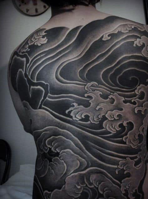 Male Full Back Rough Grey Waves Tattoo