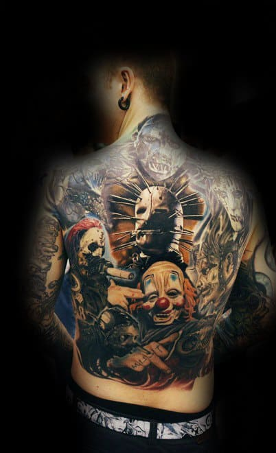 Male Full Back Tattoo With Slipknot Design
