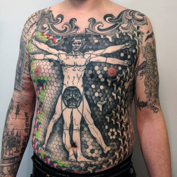 Male Full Chest Geometric Pattern Vitruvian Man Tattoos
