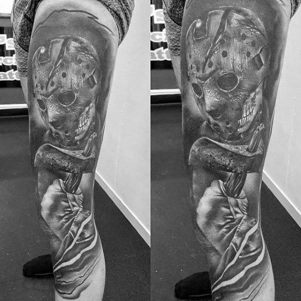 Male Full Legs Alien With Axe Realism Tattoo